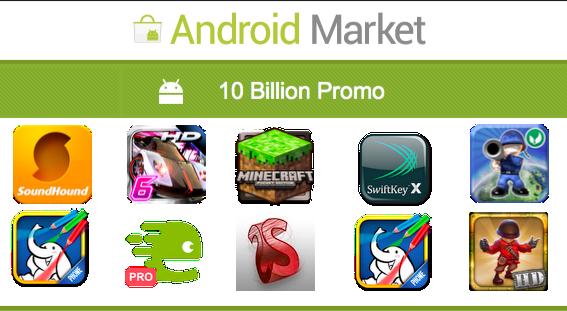 Android Market 10 billion promo